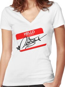 the name is mesi  Women's Fitted V-Neck T-Shirt