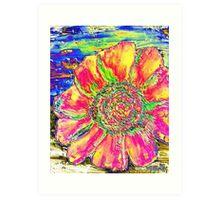 oil sunflower digital painting image Art Print