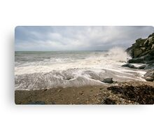 Polkerris beach on New Year's Day 2015 Canvas Print