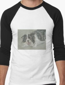 Collie dog pastel portrait Men's Baseball ¾ T-Shirt