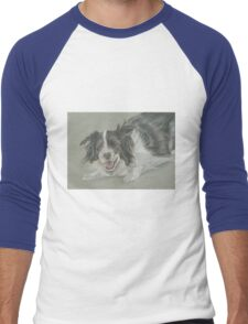 Collie dog pastel portrait Men's Baseball ¾ T-Shirt
