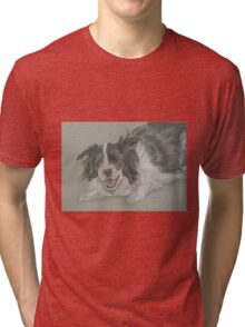 Collie dog pastel portrait Tri-blend T-Shirt