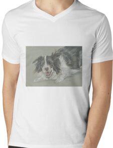 Collie dog pastel portrait Mens V-Neck T-Shirt
