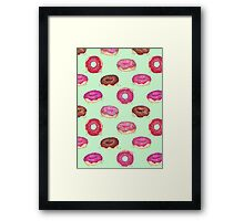 Delicious Donuts - on mint green  Framed Print