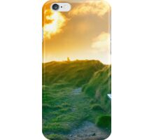 bench on a cliff edge with sunset iPhone Case/Skin