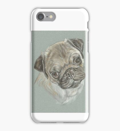 Pug dog pastel portrait iPhone Case/Skin