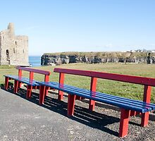 benches and path to Ballybunion castle by morrbyte