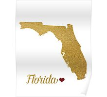 Florida gold glitter map Poster