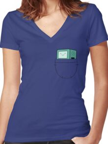 BMO Pocket - Adventure Time Women's Fitted V-Neck T-Shirt