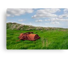 rusty abandoned agricultural heavy roller Canvas Print