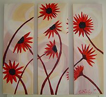 Red Gerberas Triptych by klbailey
