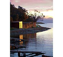 Sunset over Red Ochre Boat Sheds Photographic Print