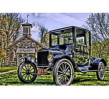 Lutz Franklin School & Model T Photographic Print