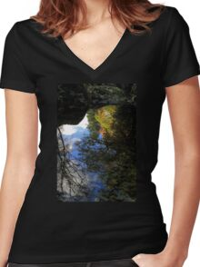 Autumn Upon Reflection Women's Fitted V-Neck T-Shirt