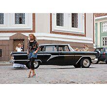 Tallin Girl and Limousine Photographic Print