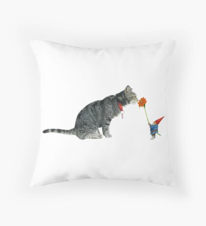 Gnome Offers a Flower to a Cat Throw Pillow