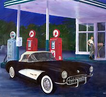 1957 Corvette at gas station by kathysgallery