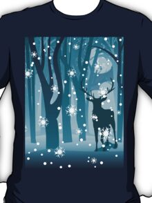 Stag in Winter Forest T-Shirt