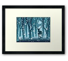Stag in Winter Forest Framed Print