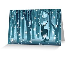 Stag in Winter Forest Greeting Card