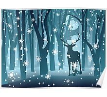 Stag in Winter Forest Poster
