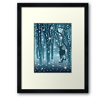 Stag in Winter Forest 2 Framed Print