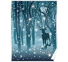 Stag in Winter Forest 2 Poster