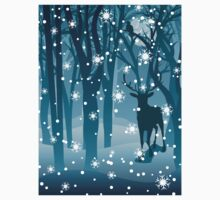 Stag in Winter Forest 2 One Piece - Long Sleeve