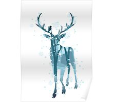 Silhouette of a deer with winter forest inside Poster