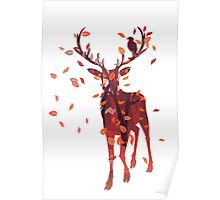 Silhouette of a deer with fall forest inside Poster