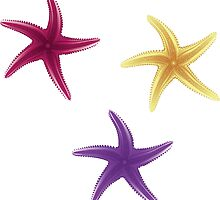 Purple, violet and yellow starfishes by AnnArtshock