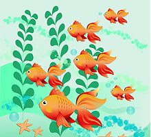 Goldfish family in a pond by walstraasart