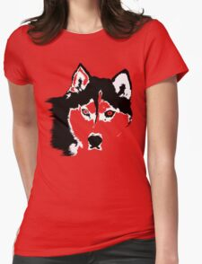 Black and White Husky Womens Fitted T-Shirt