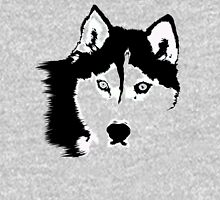 Black and White Husky Mens V-Neck T-Shirt