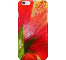 Back View of A Beautiful Bright Red Hibiscus Flower iPhone Case/Skin