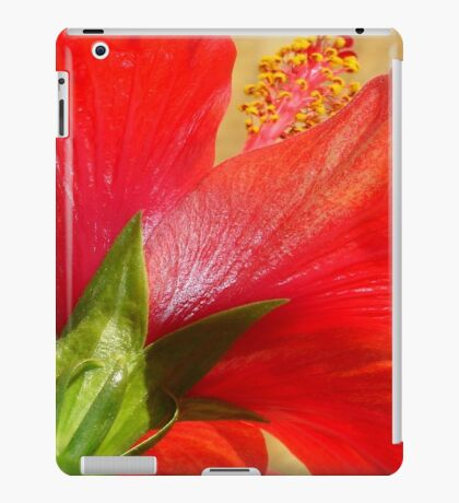 Back View of A Beautiful Bright Red Hibiscus Flower iPad Case/Skin