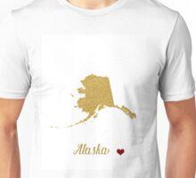 Gold Alaska map Unisex T-Shirt