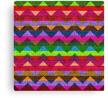 Colorful Chevron Pattern Burlap Rustic Jute Canvas Print
