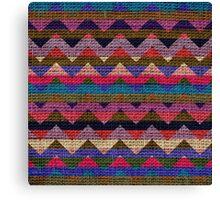 Colorful Chevron Pattern Burlap Rustic Jute #2 Canvas Print