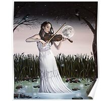 Reverie - Girl playing Violin in Moonlight Poster