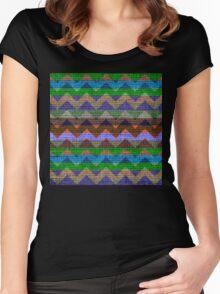 Colorful Chevron Pattern Burlap Rustic Jute #3 Women's Fitted Scoop T-Shirt