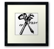 Ed First. EV Tatoo. Earth first mashup. Framed Print