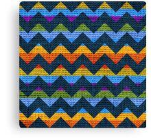 Colorful Chevron Pattern Burlap Rustic Jute #4 Canvas Print
