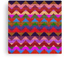 Colorful Chevron Pattern Burlap Rustic Jute #5 Canvas Print