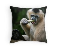 White Cheeked Gibbon Throw Pillow