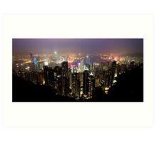 Hong Kong city lights Art Print