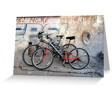 Pair of Bicycles on the Street in Rishikesh Greeting Card