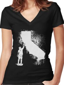 California Wall tagger white Women's Fitted V-Neck T-Shirt