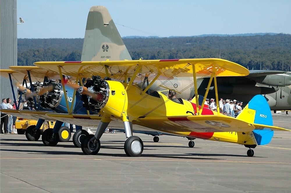 Three Boeing Steermans, Nowra Airshow, Australia 2007 by muz2142