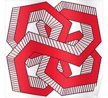 Perspective knot red Poster